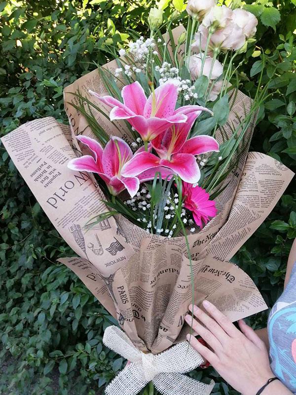 Buket roze cveća